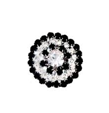 Onyx-Crystal Round Cluster Silver