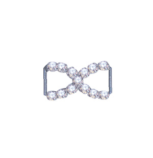 Crystal Bow Buckle Silver