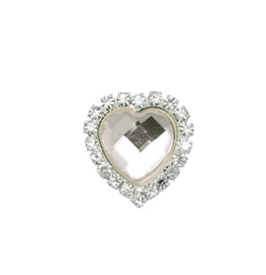 Crystal Heart Bling Silver