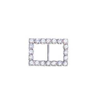 Crystal Rectangle Buckle Silver