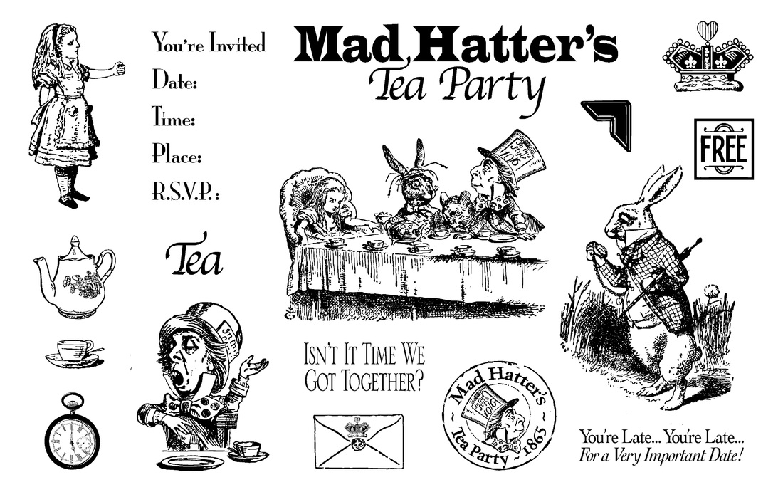 Mad Hatters Tea Party Stamp Set